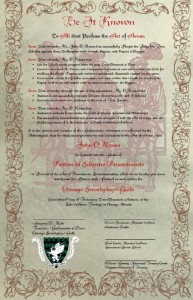 John O'Meara's Provost license, just prior to its signing.